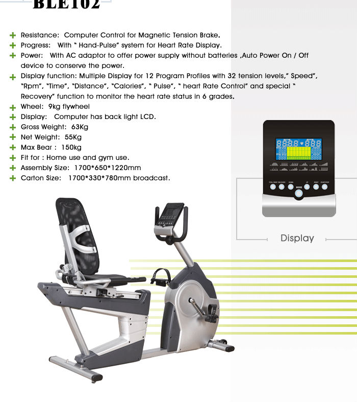 BLE102 Commercial Recument Bike fitness club exercise bike