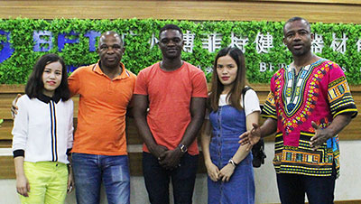 African customers come to China to purchase fitness equipment